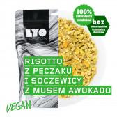 Danie wegańskie duża porcja - Risotto z pęczaku i soczewicy z musem z awokado