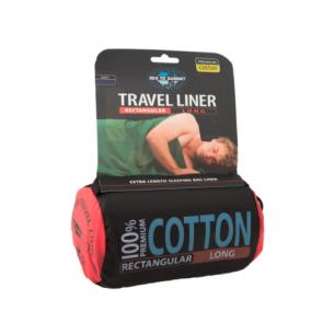 Wkładka do śpiwora Cotton Liner Mumia z kapturem Granatowa