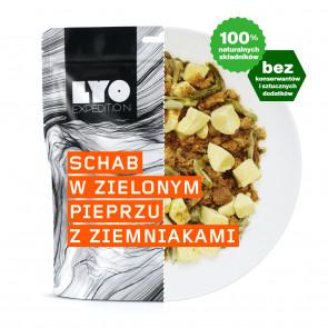 Danie obiadowe duża porcja - Schab w sosie z zielonego pieprzu
