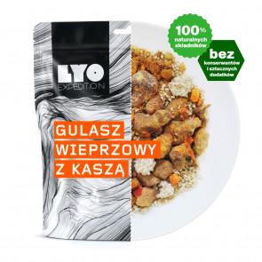 Danie obiadowe duża porcja - Gulasz wieprzowy z kaszą