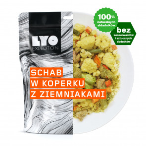 Danie obiadowe mała porcja - Schab w sosie koperkowym