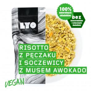 Danie wegańskie duża porcja - Risotto z pęczaku i soczewicy z musem z awokado LYOFOOD